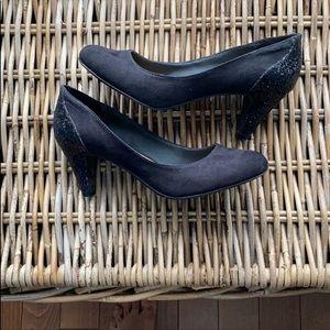ALDO black suede glitter heel pumps size 7.5